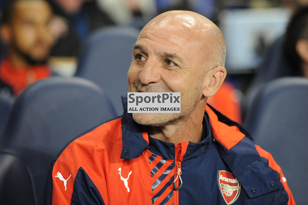 Arsenal assistant manager Steve Bould takes his seat on the bench before the Capital One Cup third round tie between Tottenham and Arsenal on 23rd September 2015