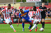 Tyronne Barnett on the ball during the Sky Bet League 2 match between Cheltenham Town and Shrewsbury Town at Whaddon Road, Cheltenham, England on 25 April 2015. Photo by Alan Franklin.