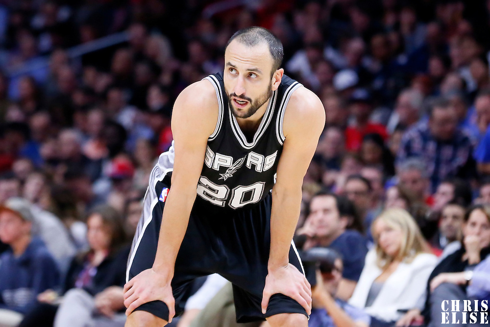 10 November 2014: San Antonio Spurs guard Manu Ginobili (20) rests during the San Antonio Spurs 89-85 victory over the Los Angeles Clippers, at the Staples Center, Los Angeles, California, USA.