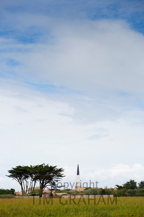 Le Clocher d'Ars church spire in the landscape at Ars en Re on the island of Ile de Re in France