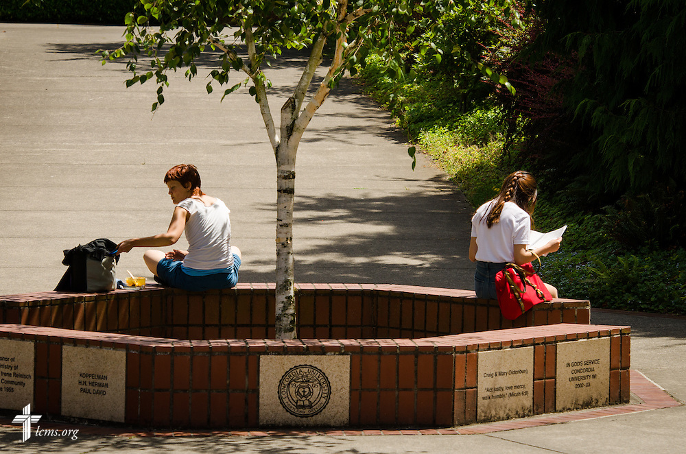 Students relax on campus at Concordia University on Friday, July 11, 2014,  in Portland, Ore. LCMS Communications/Erik M. Lunsford
