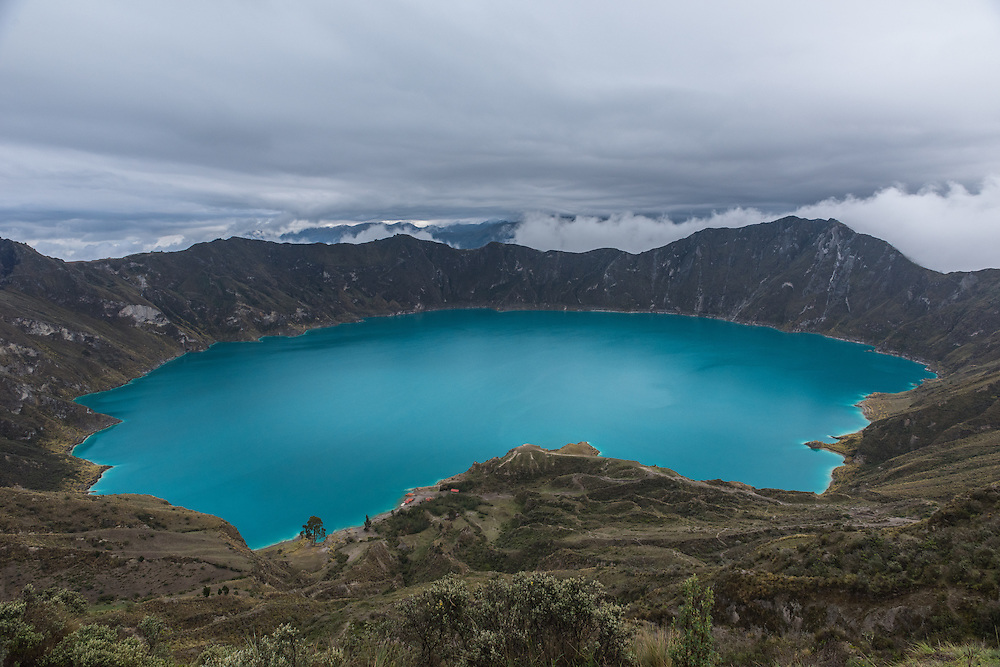 The Quilotoa craterlake is at 3900 meters one of the highest lakes in Ecuador, Quilotoa, Ecuador.