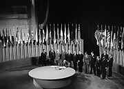 The San Francisco Conference: Netherlands Signs United Nations Charter June 1945. Alexander Loudon, Ambassador of the Netherlands to the United States and Vice-Chairman of the delegation, signing the UN Charter at a ceremony held at the Veterans' War Memorial Building on 26 June 1945.