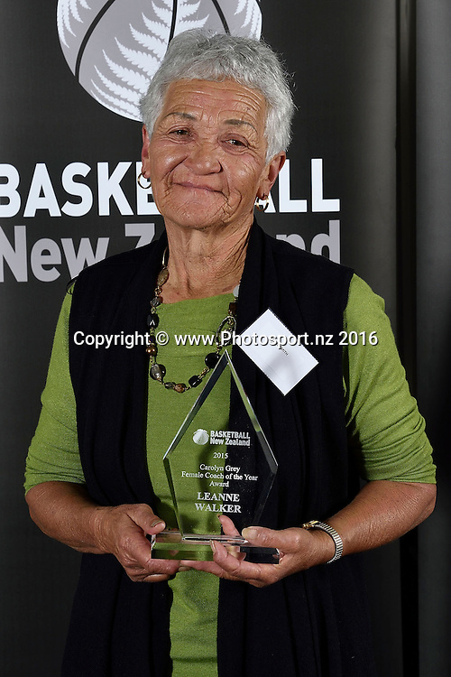 Leanne Walker's mother Mere Smith receives the Carolyn Grey Award for Female Coach of the year on behalf of her daughter during the Basketball New Zealand awards evening at the Mercure Hotel in Wellington on Friday the 20th of May 2016. Copyright Photo by Marty Melville / www.Photosport.nz