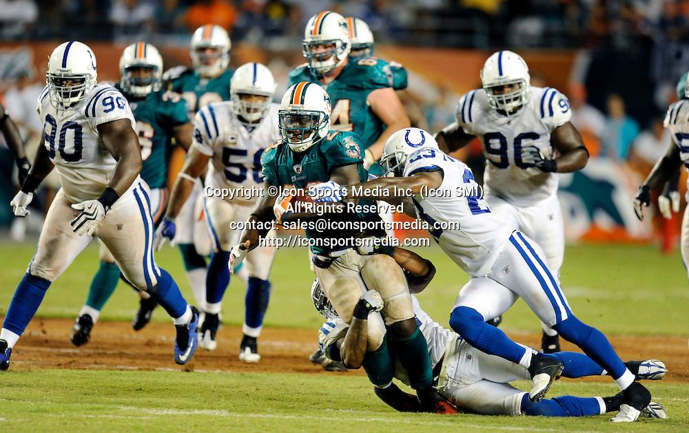 21 September 2009: Miami Dolphins Ronnie Brown (23) against the Indianapolis Colts at Land Shark Stadium in Miami, Florida.