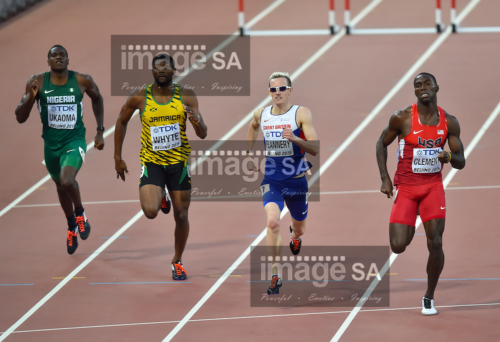 BEIJING, CHINA - AUGUST 22: Miles Ukaoma (Nigeria), Annsert Whyte (Jamaica), Niall Flannery (Great Britain) and Kerron Clement (USA) in Round 1 of the mens 400m hurdles during day 1 of the 2015 IAAF World Championships at National Stadium on August 22, 2015 in Beijing, China. (Photo by Roger Sedres/Gallo Images)