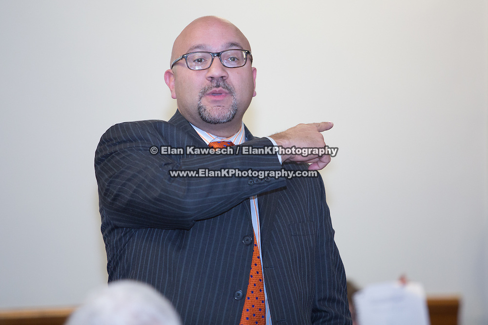Jeffrey Sanchez, a member of the Massachusetts House of Representatives, attends a meeting regarding a new Mission Hill building development project at The Mission Church on January 22, 2015 in Boston, Massachusetts. (Photo by Elan Kawesch/The Times of Israel)