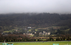 Runners and riders during the Ballymore Novices' Hurdle at Cheltenham Racecourse