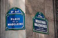 place de la madeleine sign Paris France in May 2008