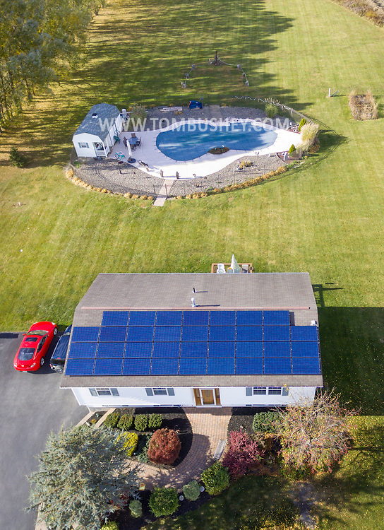Goshen, New York - Aerial view of a home on Oct. 21, 2016.