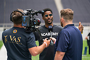 Nate Burleson from the NFL Good Morning Football show interviews at the NFL Academy, Stadium Showcase during the NFL Media Day held at Tottenham Hotspur Stadium, London, United Kingdom on 2 July 2019.