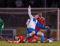 BRISTOL, ENGLAND - Thursday, January 15, 2009: Liverpool's Thomas Ince in action against Bristol Rovers during the FA Youth Cup match at the Memorial Stadium. (Mandatory credit: David Rawcliffe/Propaganda)