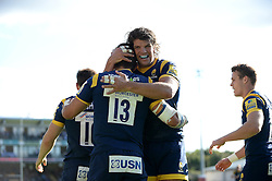 Wynand Olivier of Worcester Warriors is congratulated on his try by Donncha O'Callaghan of Worcester Warriors - Mandatory by-line: Dougie Allward/JMP - 02/10/2016 - RUGBY - Sixways Stadium - Worcester, England - Worcester Warriors v Newcastle Falcons - Aviva Premiership