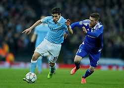 MANCHESTER, ENGLAND - Tuesday, March 15, 2016: Manchester City's Jesus Navas in action against FC Dynamo Kyiv's Antunes during the UEFA Champions League Round of 16 2nd Leg match at the City of Manchester Stadium. (Pic by David Rawcliffe/Propaganda)