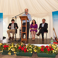 LtoR - Jim Collins (MC), Ray Dunne (Speaking, Waterways Ireland), Niamh Wiley (Committee) and special guest Charlie Bird during the opening ceremony of the 2014 Scariff Harbour Festival