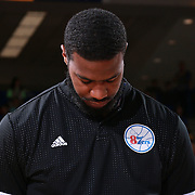 Delaware 87ers Forward EARL CLARK (22) seen during the singing of the National Anthem prior a NBA D-league regular season basketball game between the Delaware 87ers and the Maine Red Claws Friday, Feb. 19, 2016 at The Bob Carpenter Sports Convocation Center in Newark, DEL.