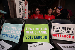© Licensed to London News Pictures. 11/12/2019. London, UK. Labour Party supporters await the start of a rally in Hoxton, East London. Voters will head to polling stations tomorrow for the 2019 General Election. Photo credit: Rob Pinney/LNP