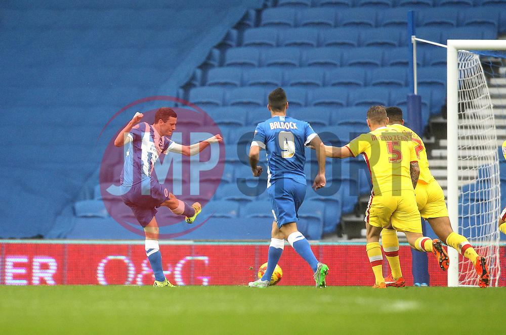 Jamie Murphy of Brighton & Hove Albion scores his sides second goal - Mandatory byline: Robbie Stephenson/JMP - 07966 386802 - 07/11/2015 - FOOTBALL - Falmer Stadium - Brighton, England - Brighton v MK Dons - Sky Bet Championship