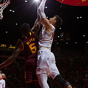 10 December 2016: The San Diego State Aztecs men's basketball team host's Saturday afternoon at Viejas Arena.  San Diego State forward Max Hotel (10) battles for a rebound against Arizona State forward Obinna Oleka (5) in the first half. The Aztecs lead the Sun Devils 32-25 at half time. www.sdsuaztecphotos.com
