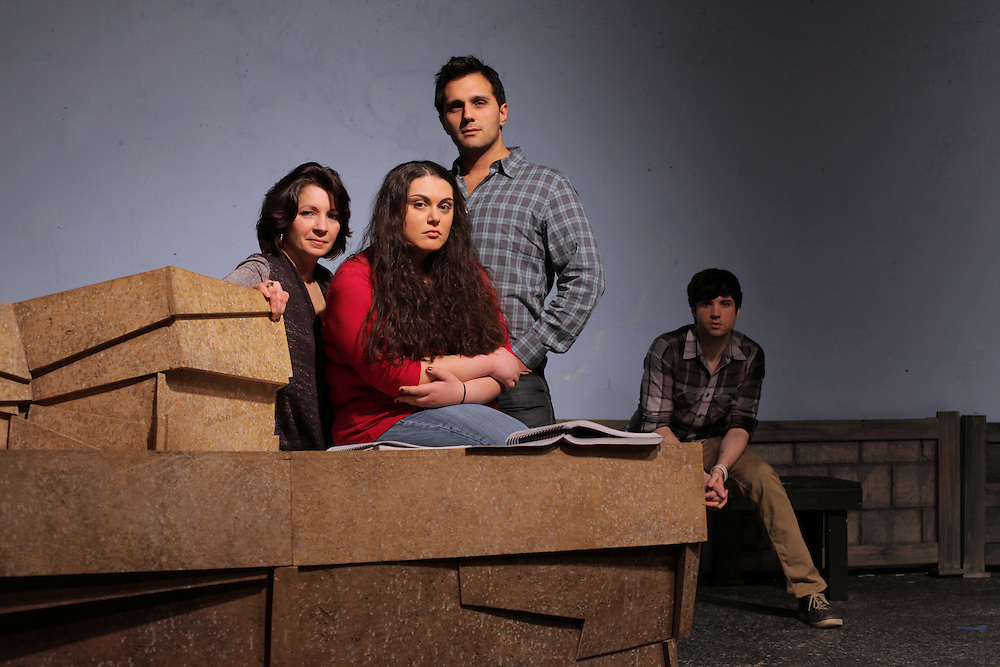 "Cast members, from left, Paulette Oliva, Tina Himaya, Rich Martino, who also directs, and Michael Valentine, will perform in the Westchester premier of ""Next to Normal"" at Westchester Sandbox Theatre in Mamaroneck on Feb. 2, 2012. The rock musical, which won a Pulitzer Prize and three Tony Awards, features music by Armonk's Tom Kitt. ( Xavier Mascareñas / The Journal News )"