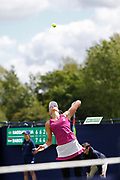 Beatriz Haddad Maia of Brazil serves during the Fuzion 100 Ilkley Lawn Tennis Trophy Tournament held at Ilkley Lawn Tennis and Squad Club, Ilkley, United Kingdom on 19 June 2019.