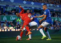 LIVERPOOL, ENGLAND - Sunday, October 4, 2015: Liverpool's Daniel Sturridge in action against Everton's Steven Naismith during the Premier League match at Goodison Park, the 225th Merseyside Derby. (Pic by Lexie Lin/Propaganda)