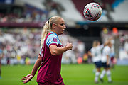Adriana Leon (West Ham) off to take a corner during the FA Women's Super League match between West Ham United Women and Tottenham Hotspur Women at the London Stadium, London, England on 29 September 2019.