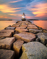 It was a beautiful summer evening to walk out on the ledge and make images of this distinctive lighthouse.  There were a lot of people here when I arrived, but amazingly, as the light got really good people started to walk back to their cars.  I moved up until the granite blocks formed an interested, but not too distracting, pattern in the foreground, and waited for the clouds to light up behind.  They did, and I have another image that I'll happily add to my portfolio.