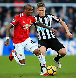 Ashley Young of Manchester United takes on Matt Ritchie of Newcastle United - Mandatory by-line: Matt McNulty/JMP - 11/02/2018 - FOOTBALL - St James Park - Newcastle upon Tyne, England - Newcastle United v Manchester United - Premier League