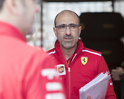 October 21, 2018 - Austin, USA - Scuderia Ferrari race engineer Carlo Santi leaves Kimi Raikkonen's garage area before the start of the Formula 1 U.S. Grand Prix at the Circuit of the Americas in Austin, Texas on Sunday, Oct. 21, 2018. Raikkonen won the race. (Credit Image: © Scott Coleman/ZUMA Wire)