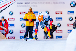 17.01.2020, Olympia Eiskanal, Innsbruck, AUT, BMW IBSF Weltcup Bob und Skeleton, Igls, Skeleton, Herren, 1. Lauf, im Bild Alexander Gassner (GER) // Alexander Gassner of Germany in action during his 1st run of men's Skeleton competition of BMW IBSF World Cup at the Olympia Eiskanal in Innsbruck, Austria on 2020/01/17. EXPA Pictures © 2020, PhotoCredit: EXPA/ Stefan Adelsberger