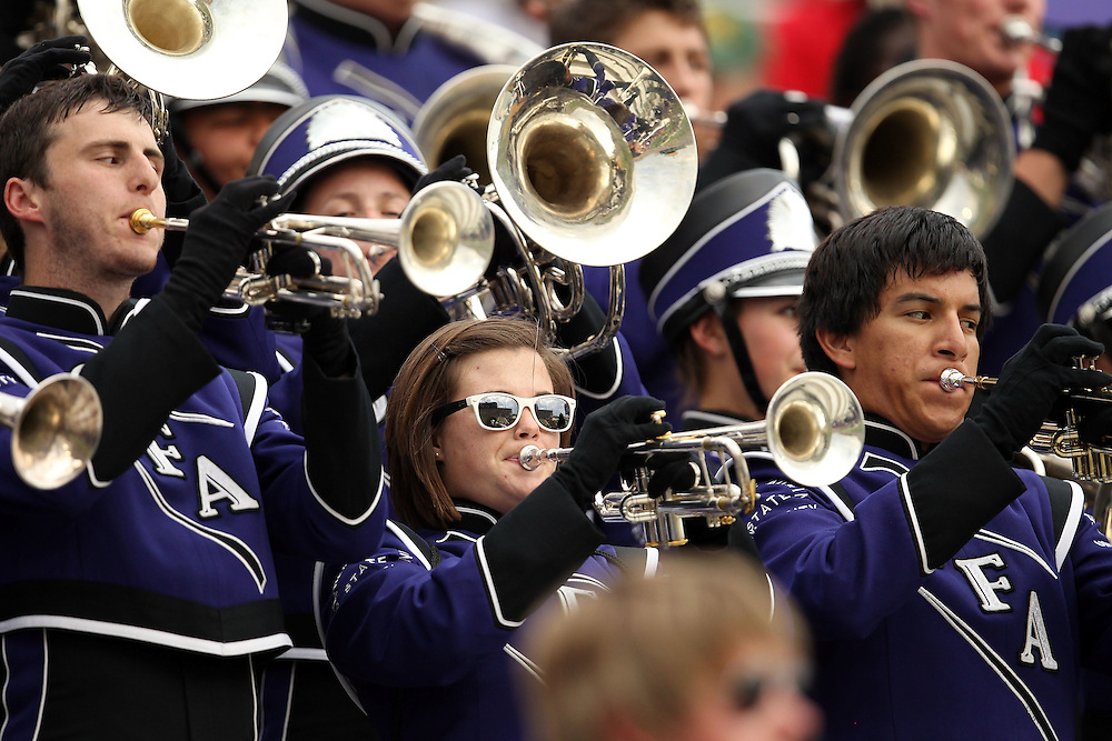 Members of the Stephen F. Austin State  band play the SFASU schools song during the NCAA college football game against Baylor and Stephen F. Austin State, Saturday, Sept. 17, 2011, in Waco, Texas.