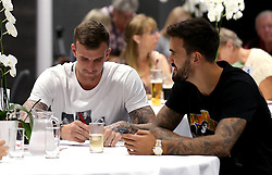 Aden Flint and Marlon Pack of Bristol City take part in the Community Trust Quiz - Mandatory by-line: Robbie Stephenson/JMP - 19/09/2016 - FOOTBALL - Ashton Gate - Bristol, England - Bristol City Community Trust Quiz