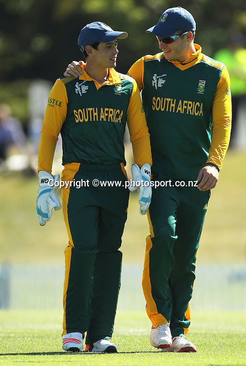 Quinton de Kock of South Africa and David Miller during the ICC Cricket World Cup warm up game between New Zealand v South Africa at Hagley Oval, Christchurch. 11 February 2015 Photo: Joseph Johnson / www.photosport.co.nz