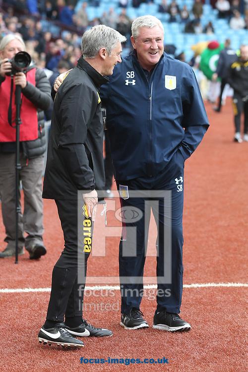 Aston Villa Manager Steve Bruce and Norwich Caretaker Manager Alan Irvine before the Sky Bet Championship match at Villa Park, Birmingham<br /> Picture by Paul Chesterton/Focus Images Ltd +44 7904 640267<br /> 01/04/2017
