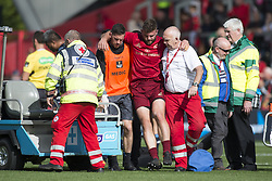 September 30, 2017 - Limerick, Ireland - Injured Jaco Taute of Munster leaves the pitch during the Guinness PRO14 Conference A Round 5 match between Munster Rugby and Cardiff Blues at Thomond Park in Limerick, Ireland on September 30, 2017  (Credit Image: © Andrew Surma/NurPhoto via ZUMA Press)