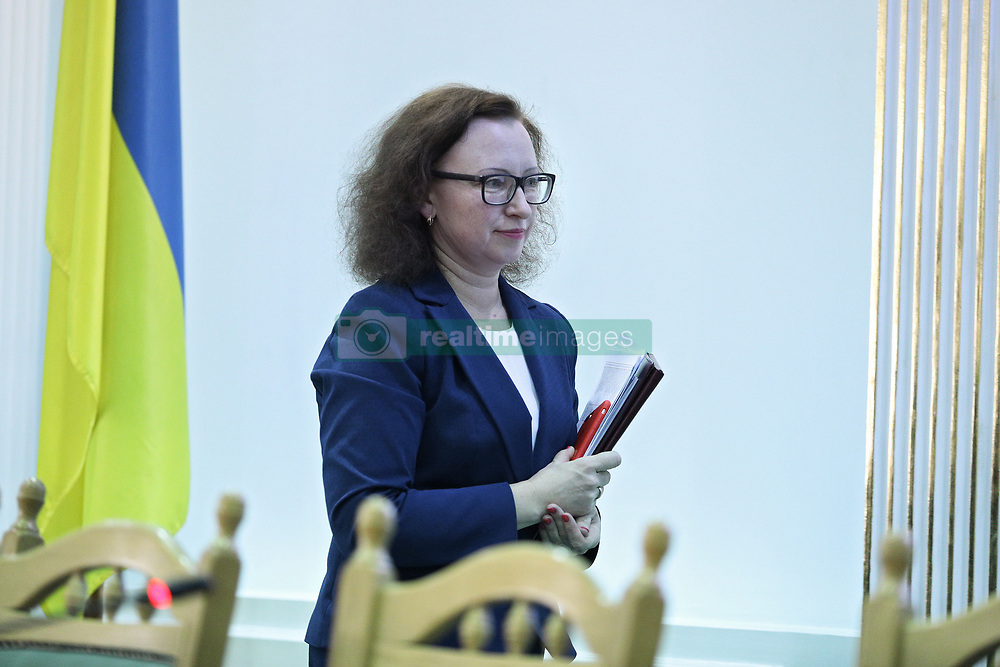 March 28, 2019 - Kyiv, Ukraine - Head of the Funds Control Department of the CEC Secretariat Nataliia Vadimova arrives for a briefing on the interim financial statements provided by presidential candidates ahead of the March 31 election and their analysis, Kyiv, capital of Ukraine, March 28, 2019. Ukrinform. (Credit Image: © Danil Shamkin/Ukrinform via ZUMA Wire)