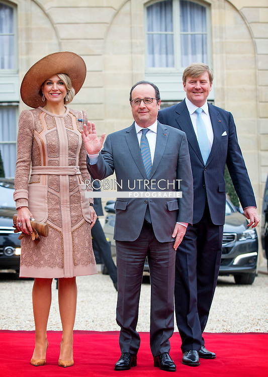 President Francois Hollande welcomes King Willem-Alexander and Queen Maxima of The Netherlands at the Elysee Palace in Paris, France, 10 March 2016. The King and the Queen are in France for an state visit 10 and 11 March. Photo: Robin Utrecht