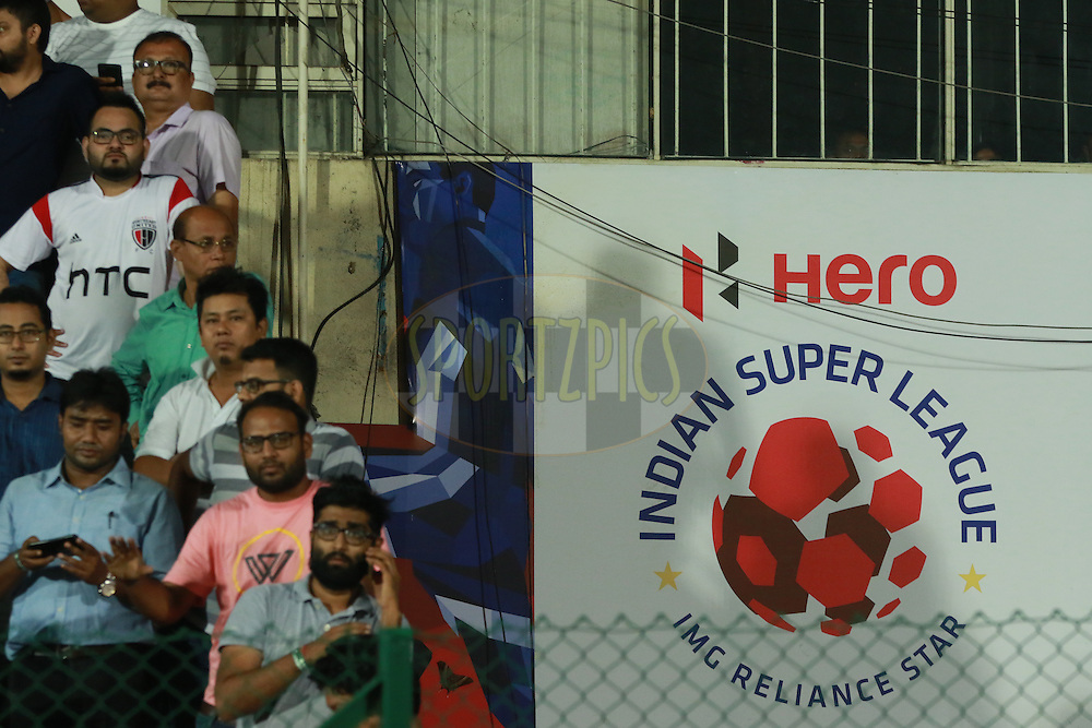 Hero branding during match 18 of the Indian Super League (ISL) season 3 between NorthEast United FC and Chennaiyin FC held at the Indira Gandhi Athletic Stadium in Guwahati, India on the 20th October 2016.<br /> <br /> Photo by Saikat Das / ISL/ SPORTZPICS