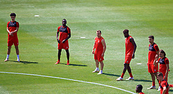 ANN ARBOR, USA - Friday, July 27, 2018: Liverpool's Curtis Jones, Sadio Mane, new signing Xherdan Shaqiri, Divock Origi and Marko Grujic during a training session ahead of the preseason International Champions Cup match between Manchester United FC and Liverpool FC at the Michigan Stadium. (Pic by David Rawcliffe/Propaganda)