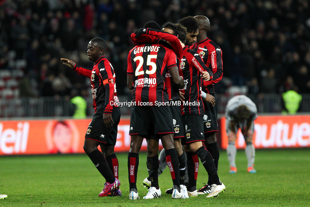 Joie Nice - Nampalys MENDY / Romain GENEVOIS / Jordan AMAVI / Albert RAFETRANAINA - 23.01.2015 - Nice / Marseille - 22eme journee de Ligue 1<br />