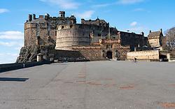 Edinburgh, Scotland, UK. 8 April 2020. Images from Edinburgh during the continuing Coronavirus lockdown. Pictured; Deserted esplanade of Edinburgh Castle.  Iain Masterton/Alamy Live News.