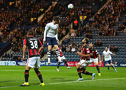 Will Keane of Preston North End heads the ball wide of goal - Mandatory byline: Matt McNulty/JMP - 07966386802 - 22/09/2015 - FOOTBALL - Deepdale Stadium -Preston,England - Preston North End v Bournemouth - Capital One Cup - Third Round