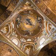 Vaulted ceiling inside Chiesa di S. Maria dell' Ammiraglio, La Martorana, circa 1143, Palermo, Sicily, Italy