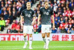Ben Mee of Burnley and Chris Wood of Burnley  - Mandatory by-line: Ryan Hiscott/JMP - 12/08/2018 - FOOTBALL - St Mary's Stadium - Southampton, England - Southampton v Burnley - Premier League