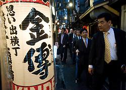 Lantern outside restaurant in the Shomben Yokocho district with many bars and restaurants in Shinjuku Tokyo Japan
