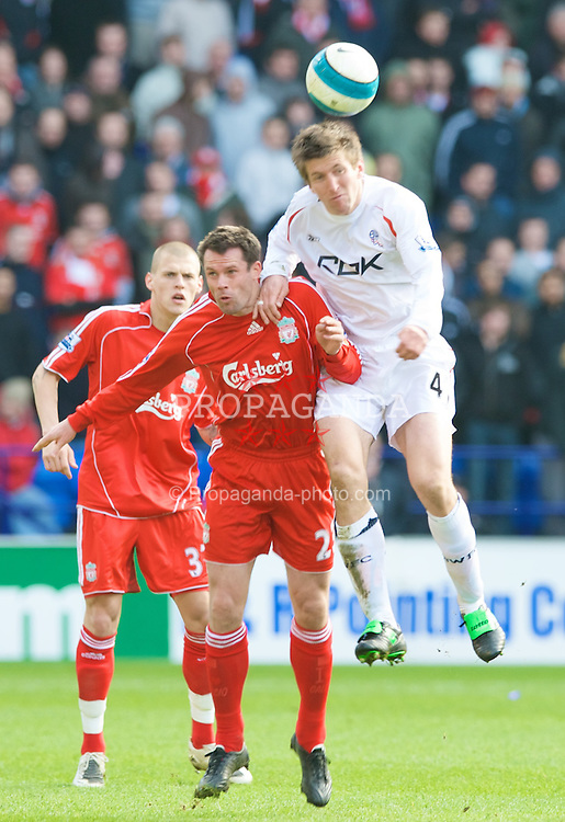 BOLTON, ENGLAND - Sunday, March 2, 2008: Liverpool's Jamie Carragher and Bolton Wanderers' Grzegoz Rasiak during the Premiership match at the Reebok Stadium. (Photo by David Rawcliffe/Propaganda)