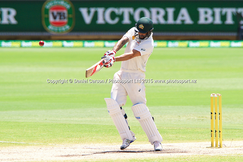 Mitchell Johnson of Australia plays a pull shot during Day 5 on the 17th of November 2015. The New Zealand Black Caps tour of Australia, 2nd test at the WACA ground in Perth, 13 - 17th of November 2015.   Photo: Daniel Carson / www.photosport.nz