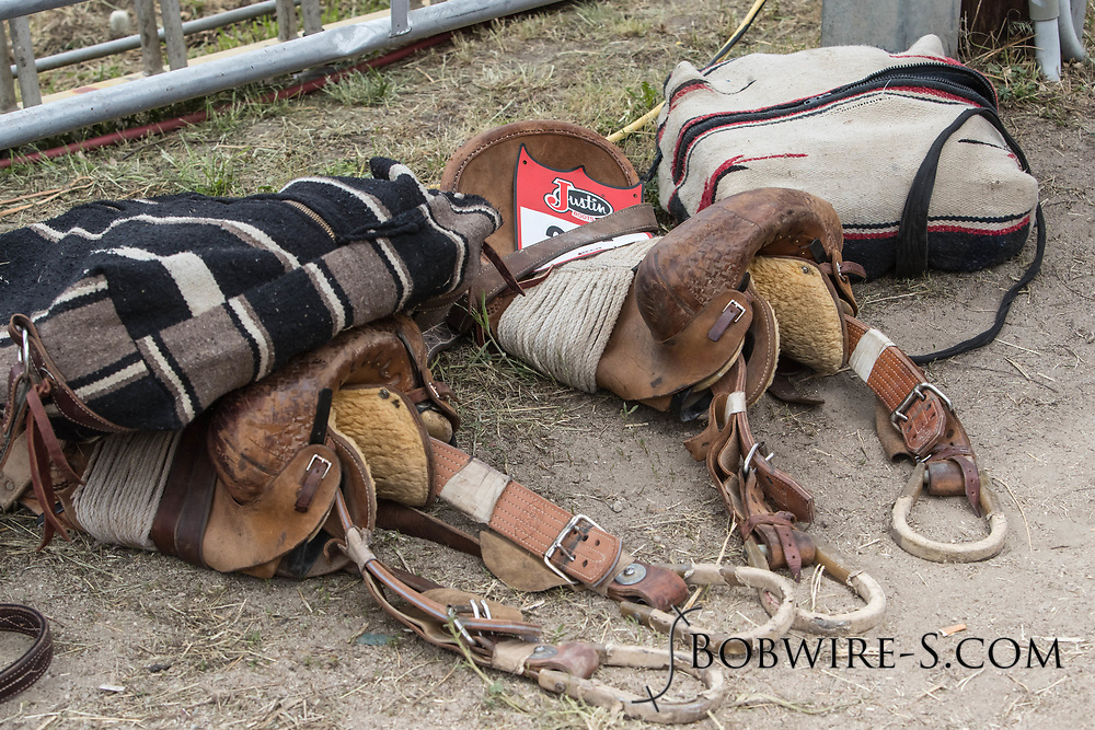 Bronc saddles sit behind the chutes before the third performance of the Elizabeth Stampede on Sunday, June 3, 2018.