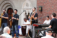 (from left) Garrick Smith, Angelo Garcia, Clifford Darrett, David Glines, Ricardo Gonzalez, Kevin Ford and Chicago Afrobeat Project perform during Vectren's Jazz & Beyond at the Dayton Art Institute, Thursday, May 3, 2012.